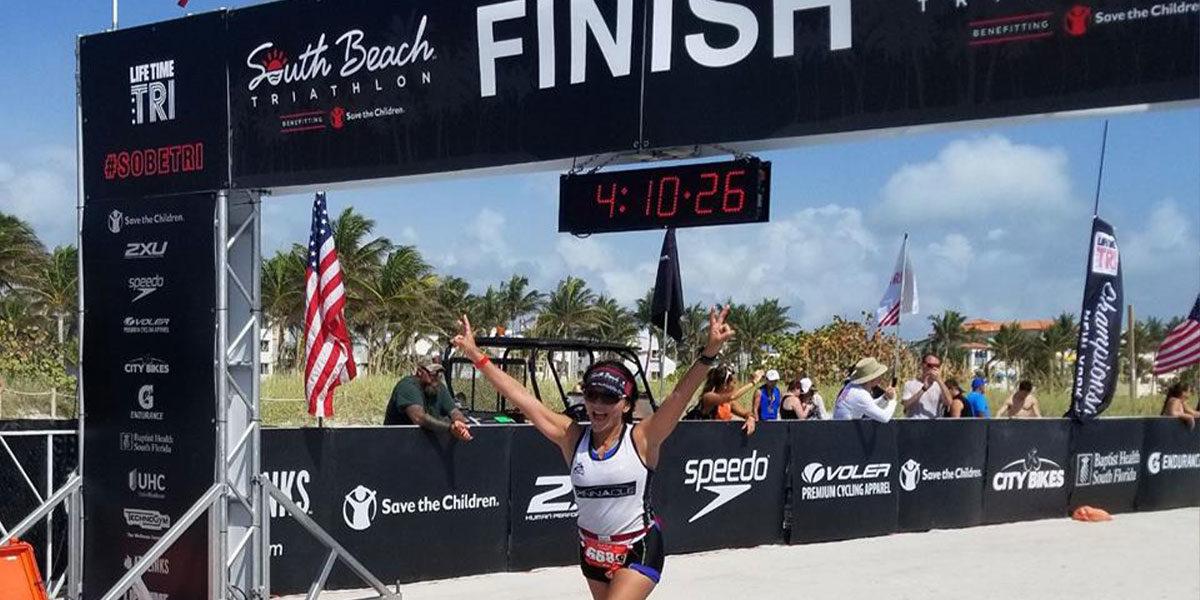 Nina Vaca completes South Beach Triathlon